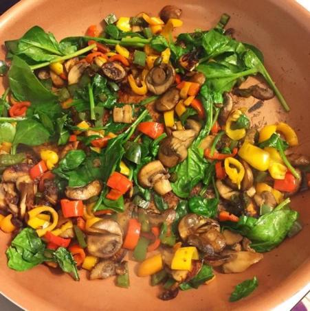 cooked egg veggies