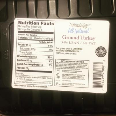 ground turkey nutrition info