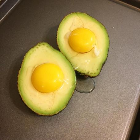 raw avocado egg